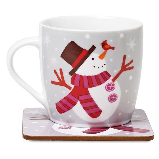 Set cana si coaster - Snowman